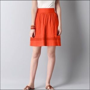 Ann Taylor Loft Women's Cotton Orange Skirt Eyelet